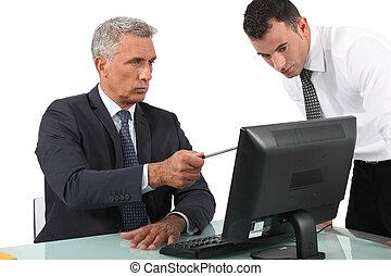 寄付, ビジネスマン, 彼の, 説明, 上司