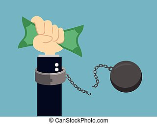 寄付, ベクトル, お金。, illustration., 手