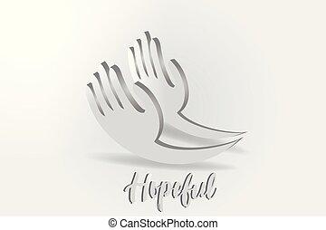 寄付, ベクトル, ロゴ, 手, 希望, 慈善