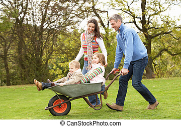 寄付, 乗車, 親, 子供, 一輪手押し車