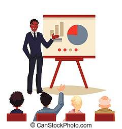 寄付, 使うこと, プレゼンテーション, 板, ビジネスマン