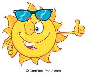 寄付, 太陽, まばたき, の上, 親指