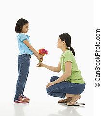 寄付, 女の子, flowers., 母