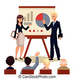 寄付, 女性実業家, プレゼンテーション, 板, ビジネスマン