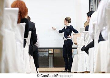 寄付, 女, プレゼンテーション, ビジネス
