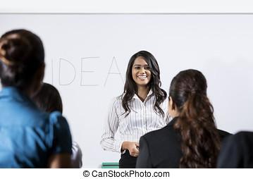 寄付, 女, プレゼンテーション, indian, ビジネス