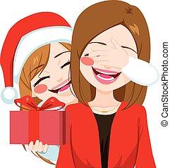 寄付, 娘, クリスマスの ギフト, 母