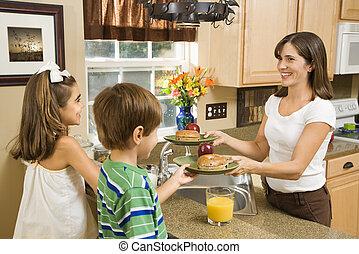寄付, 子供, breakfast., お母さん