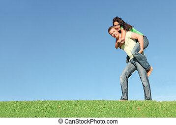寄付, 恋人, 背中, 外, 小豚, 微笑, 草, 幸せ