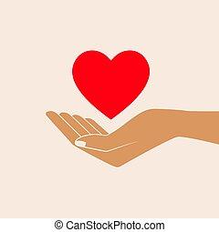 寄付, 愛, シンボル。, 手