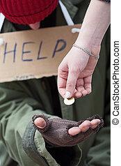 寄付, 男の女性, ホームレスである, コイン