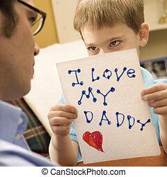 寄付, 男の子, drawing., お父さん