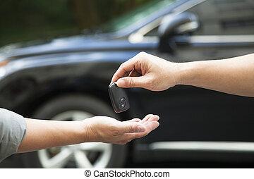 寄付, 自動車, 受け取ること, キー, 手