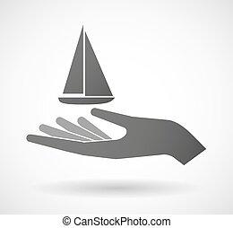 寄付, 船, 隔離された, 手