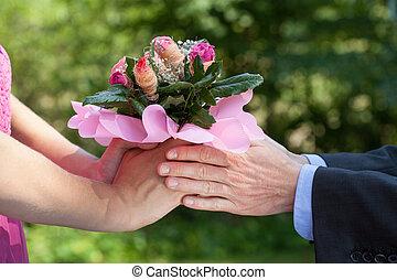 寄付, 花, 人