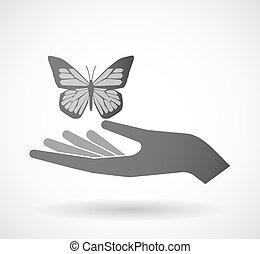寄付, 蝶, 隔離された, 手