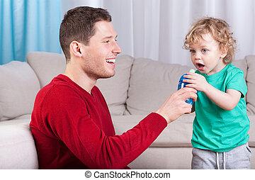 寄付, 飲みなさい, 父, びん, 息子