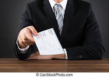 寄付, businessperson, 小切手