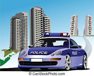 寄宿舎, そして, police., ベクトル, illus