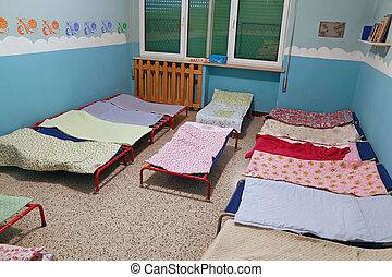 寄宿舎, 学童, ベッド, 早い幼年期