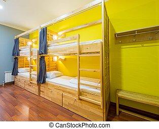 寄宿舎, 部屋, ホステル, 取り決められた, ベッド
