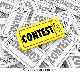富くじ, 単語, 賞, コンテスト, 勝利, 資金, 山, raiser, 切符, 図画