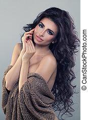 富有魅力, 婦女, 長, 頭髮, 時裝, 模型
