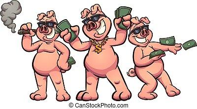 富有, 豬