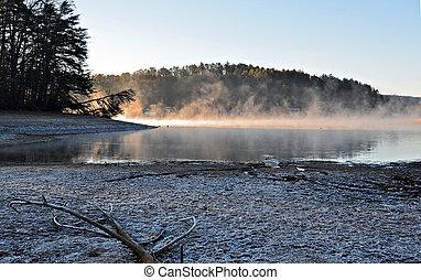 寒い, 冬, 日, 湖