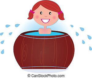 寒い, 女の子, ずぶ濡れである, 後で, サウナ, 樽, タブ