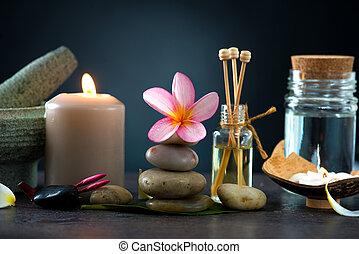 寒い, frangipani, 背景, 暗い, ライト, 包囲された, 石, エステ, 概念