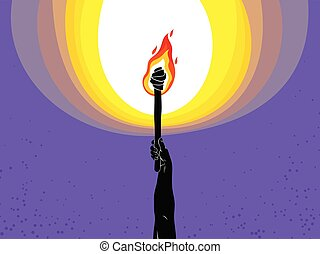 寓意物語, イラスト, prometheus, illuminates, 概念, 暗い, 持って来なさい, 暗い, art., 炎, ベクトル, 火, の上, 上がる 手, トーチ, ライト