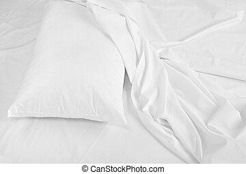 寝具, 睡眠, シート, ベッド, 枕