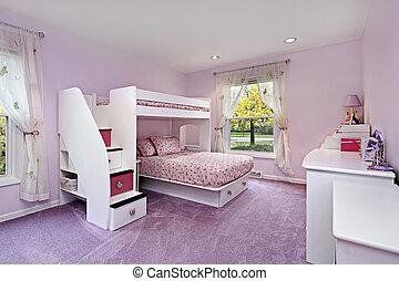 寝台, 部屋, 女の子, ベッド