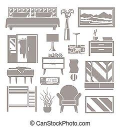 寝室セット, 灰色, 家具