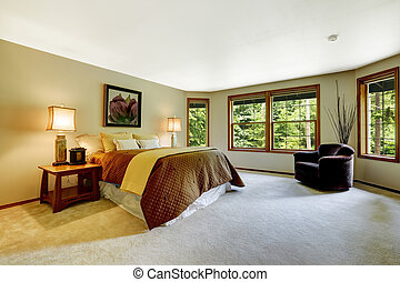 寝室, マスター, 広い, ベッド, 快適である
