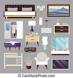 寝室, 平ら, 家具, セット, アイコン