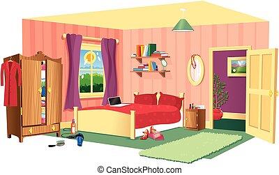 寝室, 現場