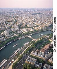 察看, 在上, 巴黎, 从, the, eiffel, tower.