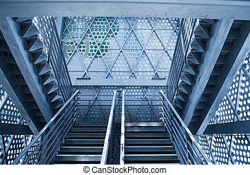 察看, 在中, 楼梯, 在中, 现代, 房子