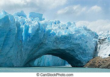 察看, 在中, the, 壮丽, perito, moreno 冰川, argentina.