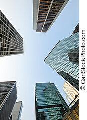 察看, 角度, 低, 摩天楼