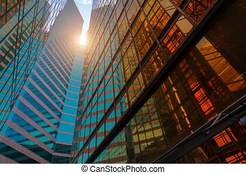 察看, 角度, 摩天楼, 低