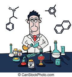 實施, 教授, 工作, 蒸餾, laboratory., 化學家, 綜合