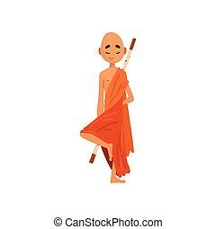 實踐, 佛教徒, 字, 僧侶, 插圖, 卡通, 矢量, 背景, 橙, 瑜伽, 白色, 長袍