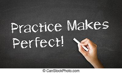 實踐, 做, 完美, 粉筆, 插圖