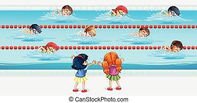 實踐, 游泳池, 孩子