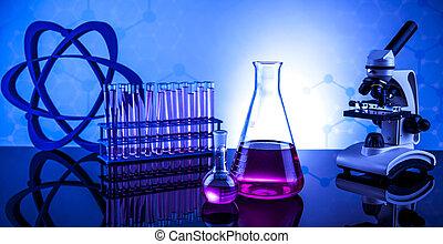 實驗室玻璃器皿, 化學, 科學, 背景