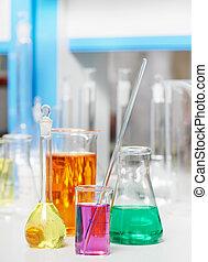 實驗室, 燒瓶, 在, 化學, 藥房, 研究
