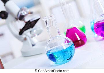 實驗室, 顏色, 化學, 液体, 玻璃器皿